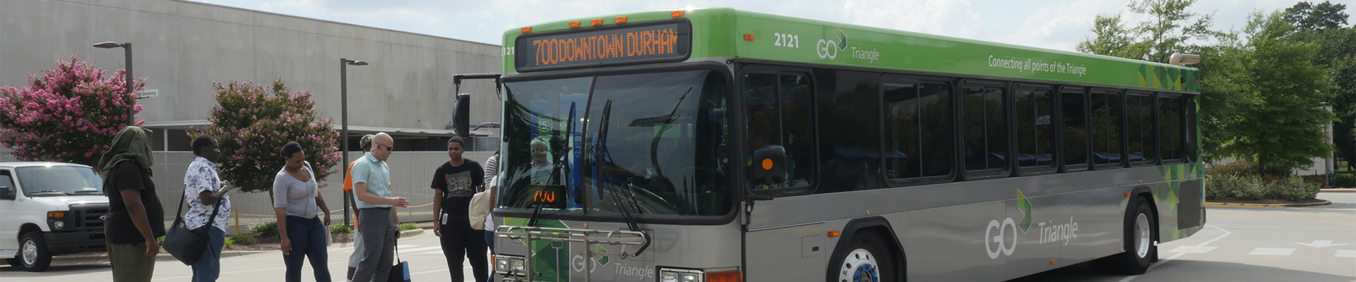 Riders board GoTriangle route 700 to Durham at the RTC
