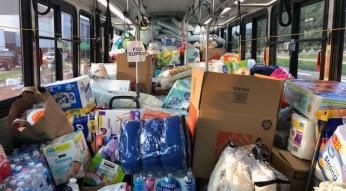 Hurricane Florence donations fill up a GoTriangle bus.
